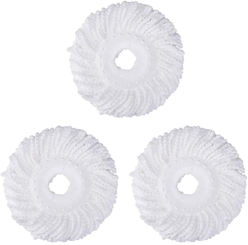 3 Replacement Mop Micro Head Refill Hurricane for 360° Spin Magic Mop-Microfiber Replacement Mop Head-Round Shape Standard Size (White-3 Pack) by FAMEBIRD