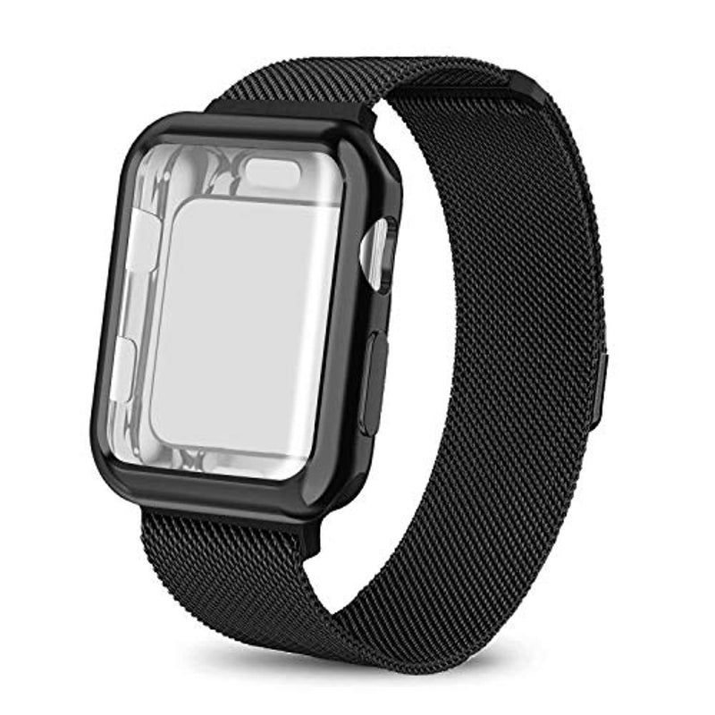 AdMaster Compatible Apple Watch Band 38mm 42mm, Stainless Steel Mesh Milanese Sport Wristband Loop with Apple Watch Screen Protector Compatible for iWatch Series 1/2/3