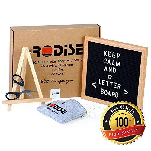 Black Felt Letter Board with Scissors-364 Letters, Emoji Sign & Numbers, Special Storage Bag, Wood Stand. Changeable Message Boards, Oak Frame 10x10 inch, Wall Mount, Perfect Gift