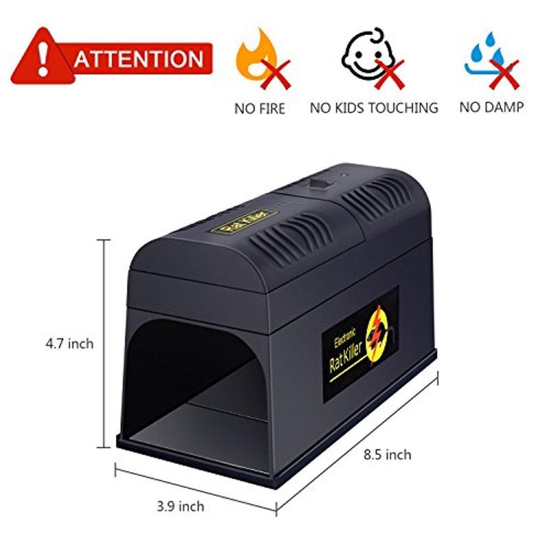 Electronic Rat Trap - Zaker Powerful High Voltage Automatic Rat Zapper, Indoor/Outdoor Rat Catcher, Efficient, Safe and Clean, Animal Trap to Get Rid of Rats and Mice, Squirrels and Rodents