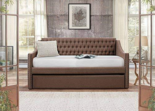 Homelegance Tulney Fabric Upholstered Daybed with Trundle, Twin, Gray
