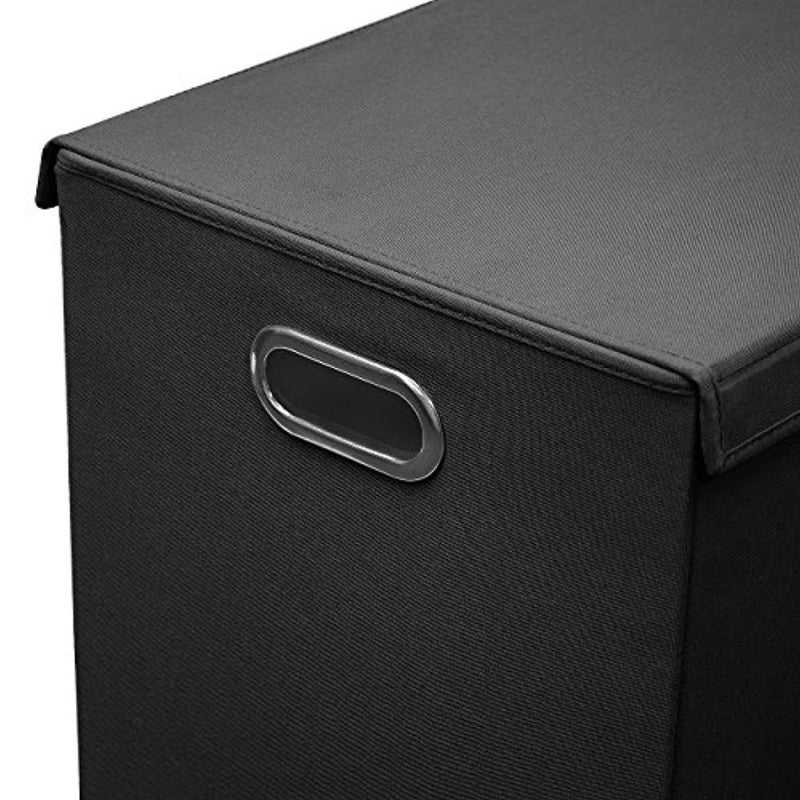 Sorbus Laundry Hamper Sorter with Lid Closure – Foldable Double Hamper, Detachable Lid and Divider, Built-in Handles for Easy Transport - Double (Black)
