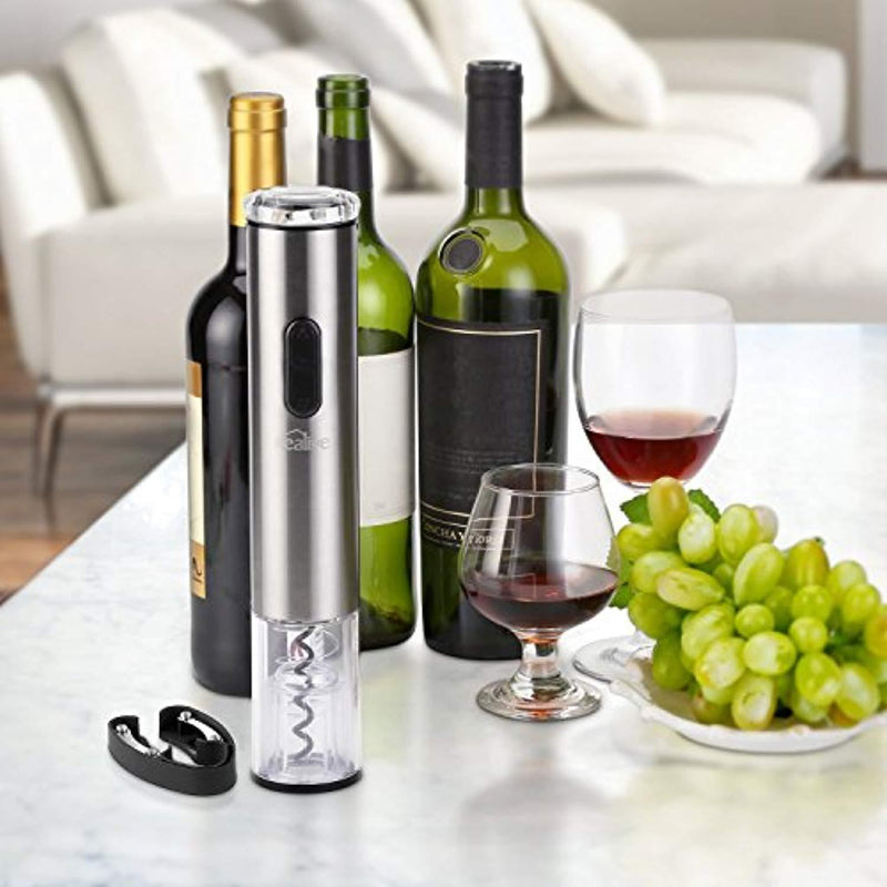 Kealive Cordless Electric Wine Bottle Opener, Wine Bottle Opener Corkscrew with Foil Cutter, Battery Powered, Metallic Finish, Silver