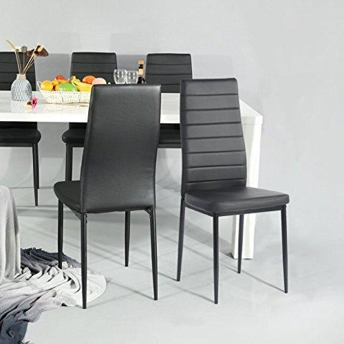 Aingoo Kitchen Chairs Set of 4 Dining Chair Black with Steel Frame High Back PU Leather
