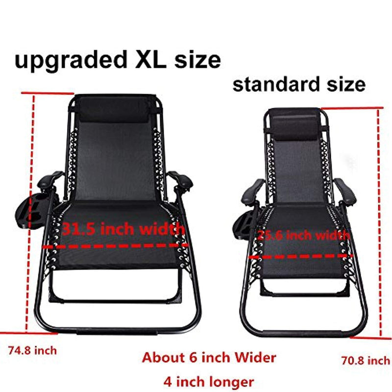 Ezcheer Oversized Zero Gravity Chair 2 Pack,Patio Lounge Chair w Cup Holder,Folding Office Beach Recliner 31 inchExtra Wide Beach Garden Chair Supports 400 lbs
