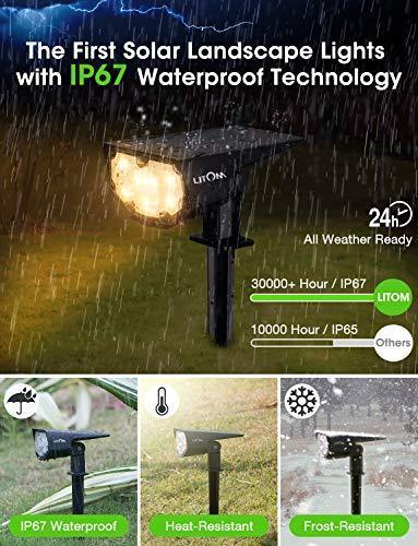 LITOM 12 LED Solar Landscape Spotlights, IP67 Waterproof Solar Powered Wall Lights 2-in-1 Wireless Outdoor Solar Landscaping Lights for Yard Garden Driveway Porch Walkway Pool Patio 2 Pack Warm White