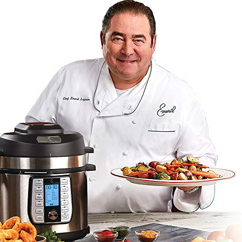 Emeril Lagasse Pressure Cooker, Air Fryer, Steamer and Electric Multi-Cooker. Air Fry Basket and Crisper Lid (6 Qt with 4 Pc Accessory Pack)