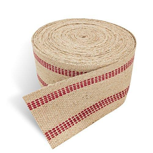 "Red Upholstery Craft Jute Webbing, 11 lbs 3.5"" x 10Yd and 20 Yd Rolls (20 yd)"