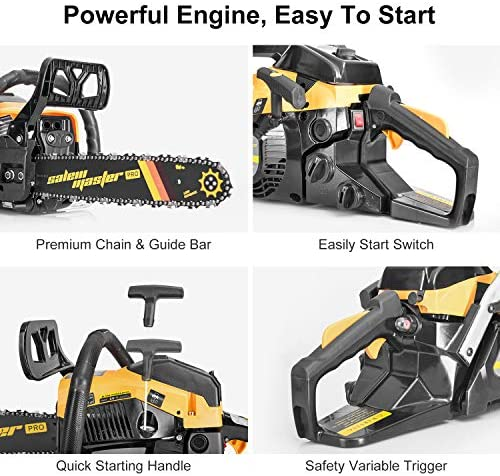 SALEM MASTER 3816S 38CC 2-Cycle Gas Powered Chainsaw, 14-Inch Chainsaw, Handheld Cordless Petrol Gasoline Chain Saw for Farm, Garden and Ranch