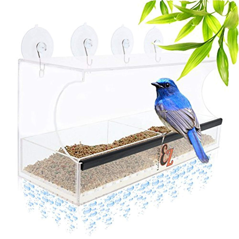 SUPERIOR Window Bird Feeder by Entirely Zen Includes Bonus Mirror Film, 5 Super Strong Suction Cups That Don't Fall; 100% Clear Outside Wild Bird Viewing, Cardinal, Bluebird, Large Bird Feeder