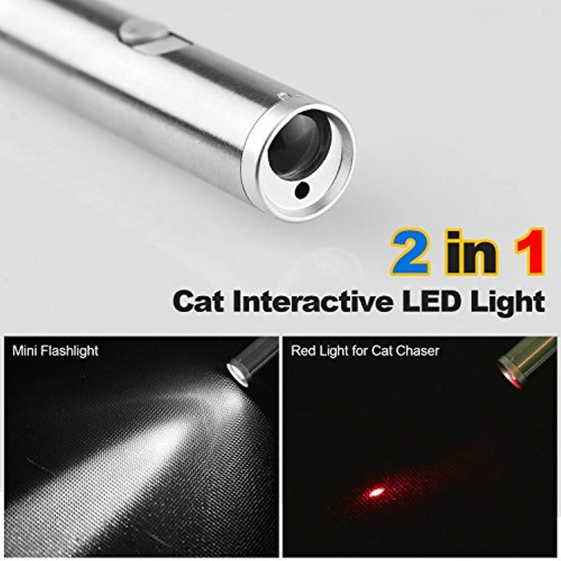 Cat Catch The Led Interactive LED Light Pointer 2 in 1 Red Pot & White LED 2 Pack
