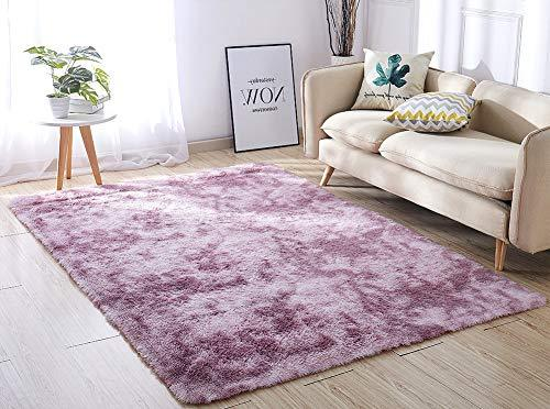 Super Soft Indoor Modern Shag Area Silky Smooth Rugs Living Room Carpet Bedroom Rug for Children PAGISOFE Play Solid Home Decorator Floor Rug and Carpet 4- Feet by 5- Feet (Hot Pink)