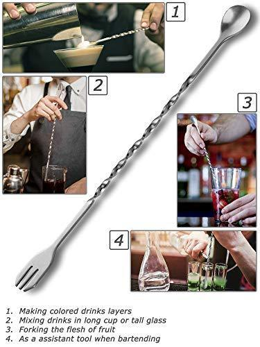 CMflower Stainless Steel Cocktail Mixing Spoon Garnish Fork 9 Inch Drink Muddler Fruit Masher Barware Tool Set for Mojito and Mint Julep in Bar Home Party