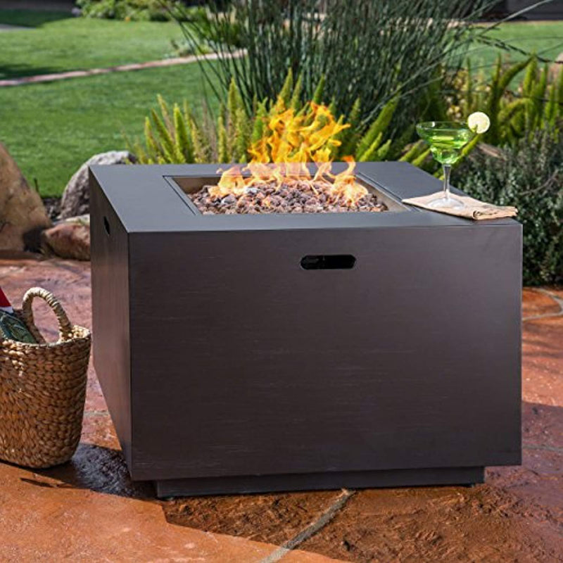 Great Deal Furniture Jasmine Outdoor Dark Grey Finish Iron 33 Inch Square Fire Pit - 50,000 BTU