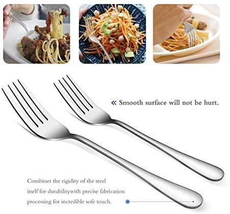Silverware Set Flatware Set Mirror Teivio Polished, Service for 6, Include Knife/Fork/Spoon with Gift Box (Silver