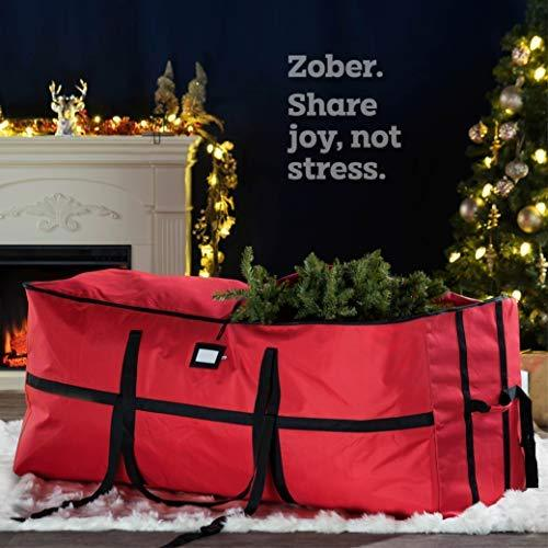Extra Wide Opening Christmas Tree Storage Bag - Fits Up to 9 ft. Tall Artificial Disassembled Trees, Durable Straps & Reinforced Handles by ZOBER