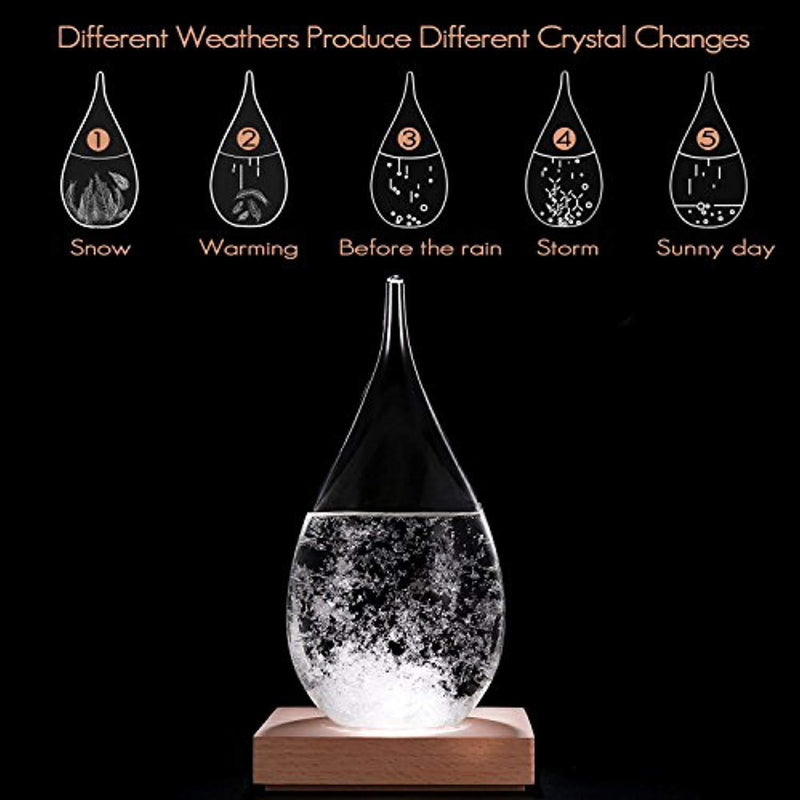 MariBeatty Storm Glass Crystal Weather Predictor Home Decoration Weather Forecast Bottle Barometer Office Crafts Gift Droplet Desktop Decor Crafts Conversation Piece