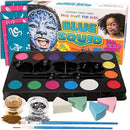 Blue Squid Face Paint Kit Kids - 52 Pieces, 14 Colors, 2 Glitters, 30 Stencils, 4 Makeup Sponges, Face Paint Party Supplies - Safe Facepainting Sensitive Skin - Professional Costume Makeup