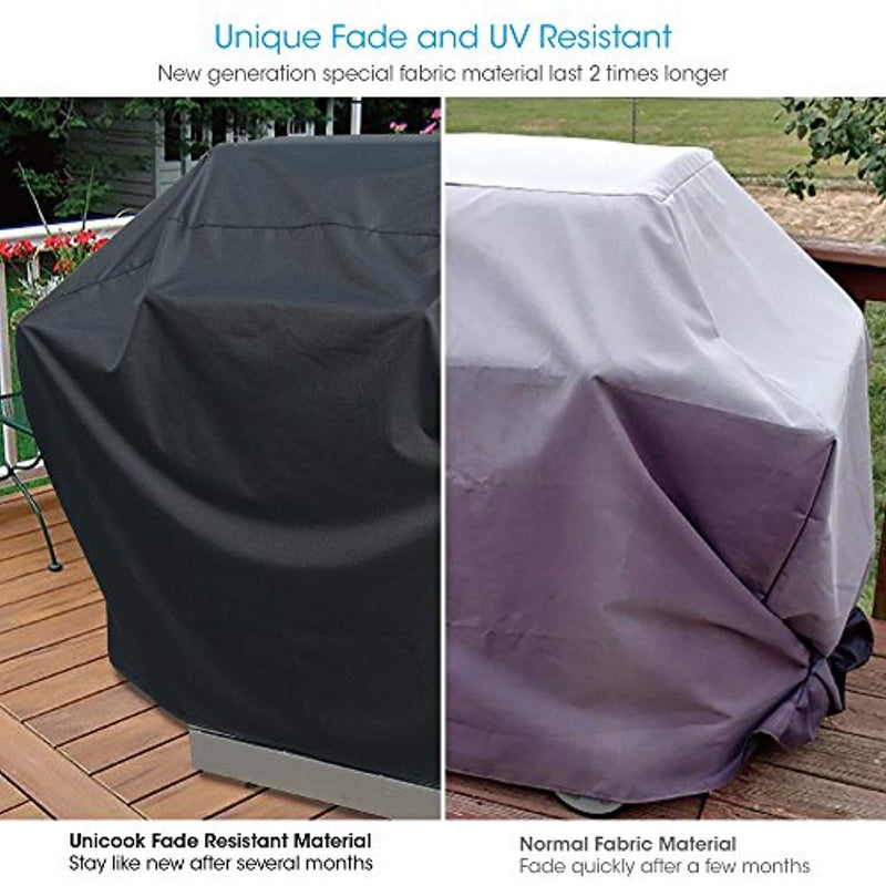 UNICOOK Heavy Duty Waterproof Barbecue Gas Grill Cover, 60-inch BBQ Cover, Special Fade UV Resistant Material, Durable Convenient, Fits Grills Weber Char-Broil Nexgrill Brinkmann More