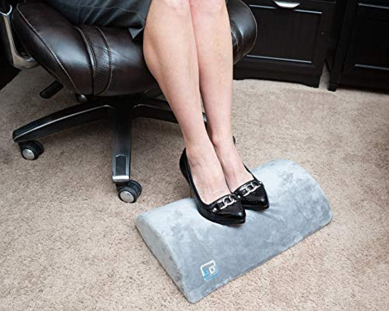Ethereal Designs - Office Foot Rest Under Desk Firm Foam Cushion - Ergonomic Footrest with Non-Slip Base and Optimum Leg Clearance - Relieves Foot Pain w/Premium Comfort - Washable Ottoman Foot Stool