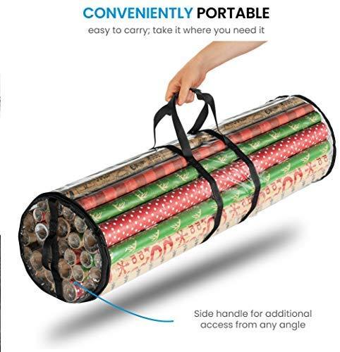 "Christmas Wrapping Paper Storage Bag - Fits 14 to 20 Standard Rolls Upto 40""- Slim Design Underbed Wrapping Paper Storage Container, Water Proof PVC Fabric, Clear by ZOBER"