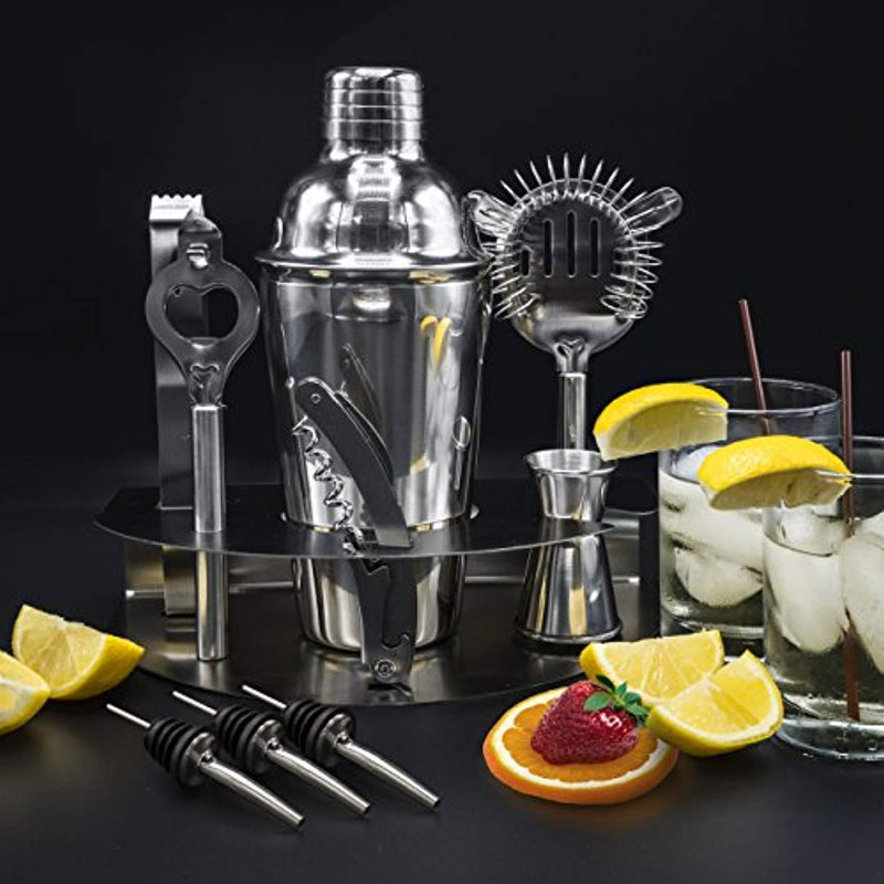 Sorbus Cocktail Shaker and Mixing Set - Deluxe 10 Piece Bar Tool Set: Bottle Opener, Cork Screw, Ice Tong, Measuring Jigger, Strainer, Liquor Pourers, on Display Stand