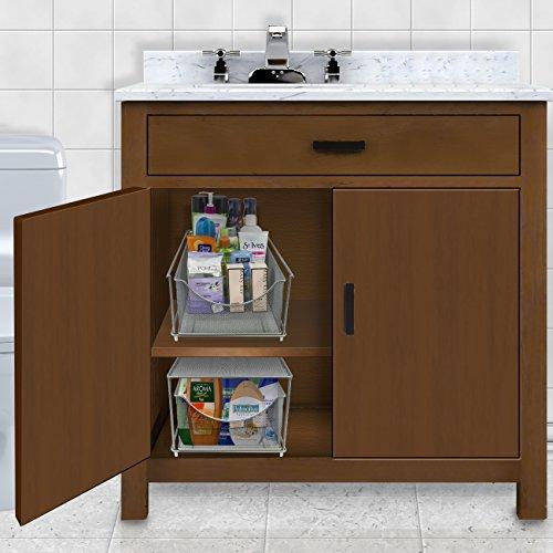 Sorbus Cabinet Organizer Drawer with Cover—Mesh Storage Organizer w/ Pull Out Drawers—Stackable, Ideal for Countertop, Cabinet, Pantry, Under the Sink, Desktop and More (Silver Bottom Drawer)
