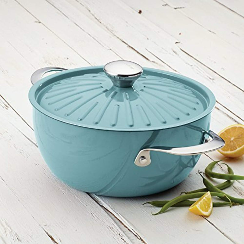 Rachael Ray Cucina Hard Porcelain Enamel Nonstick Covered Round Casserole, 4.5-Quart, Agave Blue