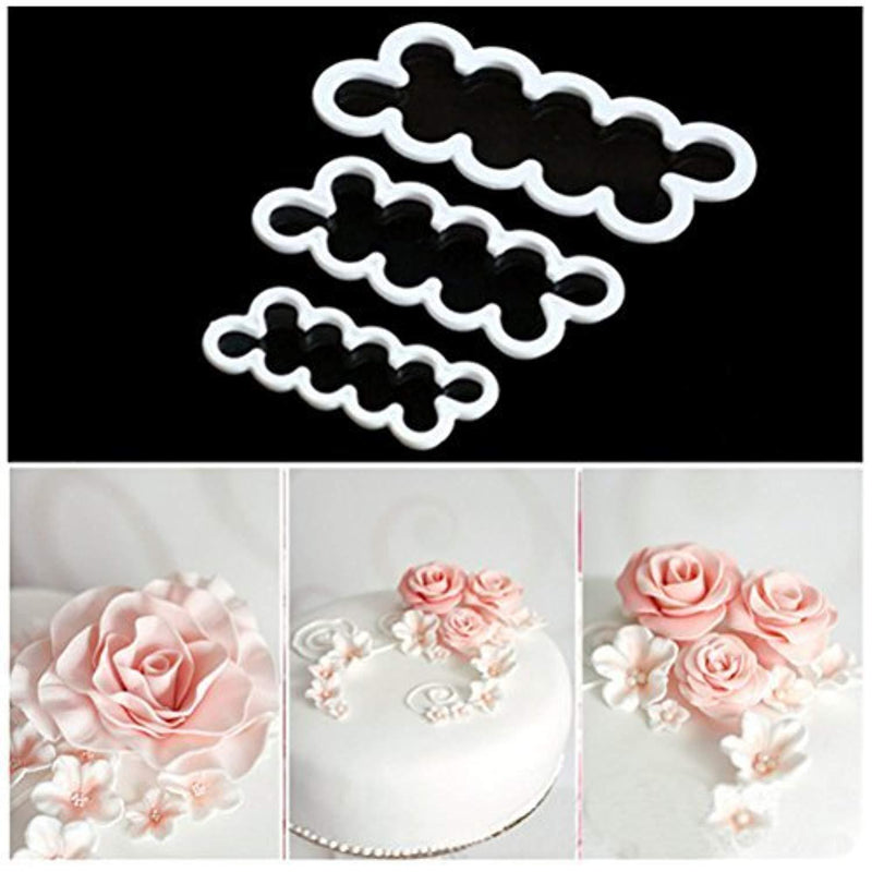 HBlife 3 Pcs Cake Decorating Mold Sugar Craft Easiest Rose Flower Ever Cutter DIY Fondant Maker Baking Tool Accessories