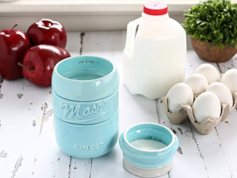 Mason Jar Measuring Cups Set - Set of 4 Ceramic Measuring Cups (1/4, 1/3, 1/2, 1 cup) in Rustic, Antique, Farmhouse Design Perfect for Your Kitchen by Sparrow Decor (Blue)