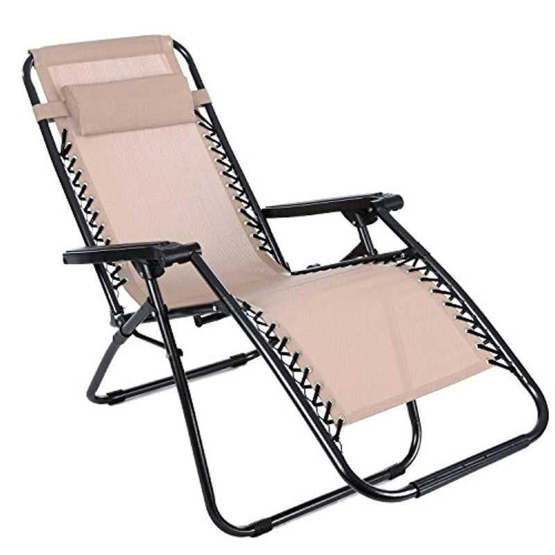 ANCHEER Zero Gravity Chair Outdoor Lounge Chaise with Foldable Steel Construction and Durable Mesh Fabric-300lbs Capacity (Khaki)