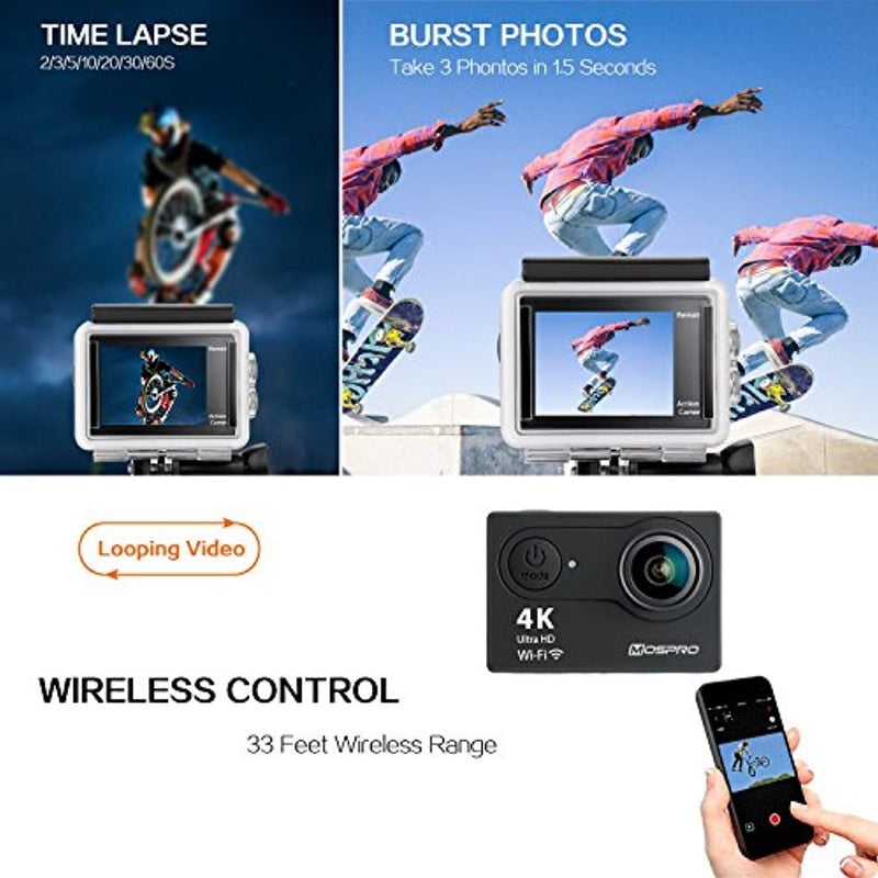 MOSPRO FT7500 Action Camera, 4K Ultra HD Wifi Waterproof 170 Degree Wide Angle 12 MP DV Camcorder Sports Camera with 2.4G Remote Control 2Pcs 1050mAh Batteries 19 Mounting Kits(2017 New)
