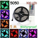 GenLed 16.4ft 5M Waterproof Flexible strip 300leds Color Changing RGB SMD5050 LED Light Strip Kit RGB 5M +44Key Remote+12V 5A Power Supply