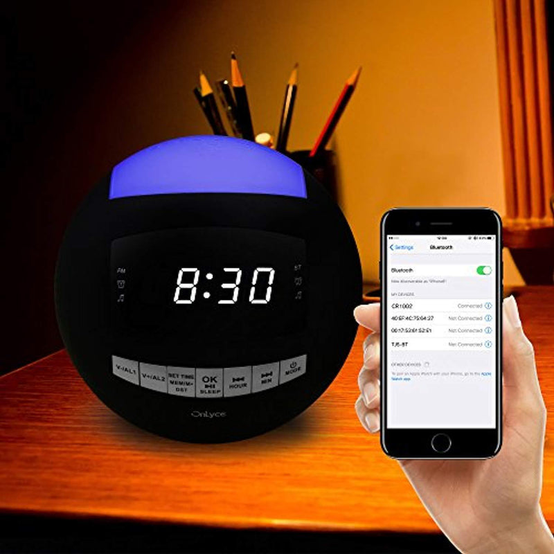 OnLyee Bluetooth Alarm Clock Radio, AM FM Radio, Digital LED, 7 Colored Night Light, AUX, Speaker, Dual USB Chargers, Dual Alarms - Kids Desk Kitchen Bedroom and Heavy Sleepers