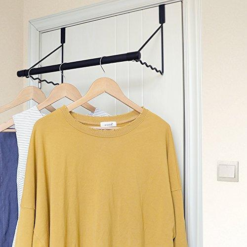 Magicfly Over The Door Closet Rod, Heavy-Duty Over The Door Hanger Rack with Hanging Bar for Coat, Towels Holder, Freshly Ironed Clothes, White