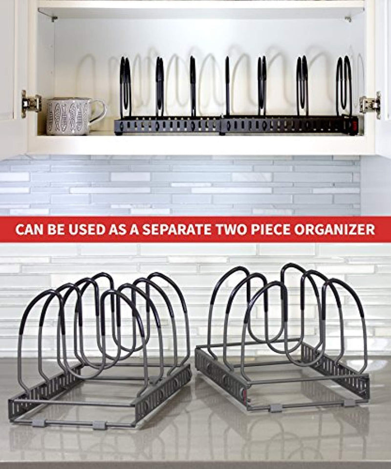 "7+ Pans - BetterThingsHome Expandable Pan Organizer Rack: Can Be Extended to 22.25"", Total 7 Adjustable Compartments, Pantry Cupboard Bakeware Lid Plate Holder"
