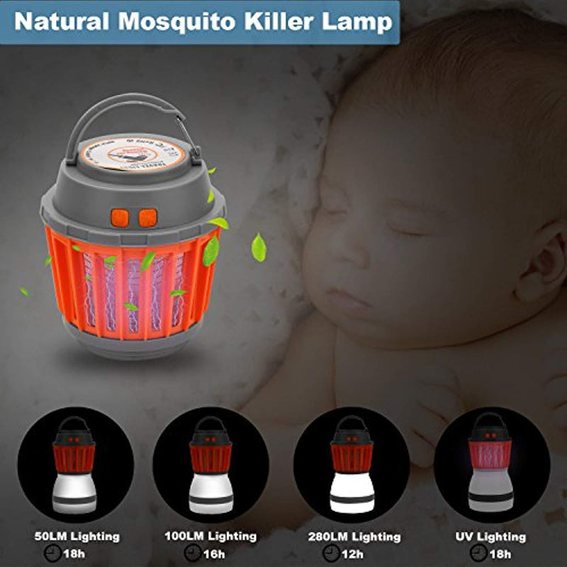 XREXS Outdoor Mosquito Zapper 2-in-1 Bug Zapper & Camping Lamp Natural Mosquito Killer Lamp Travel Camping Lantern Pest Control, USB Charging, IP67 Waterproof for Indoor &Outdoor(Random Color)