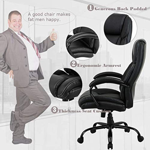 High-Back Big and Tall Office Chair 500lb Executive Chair Ergonomic PU Desk Task Chair Rolling Swivel Chair Adjustable Computer Chair with Lumbar Support Headrest Leather Chair for Women, Men (Black)