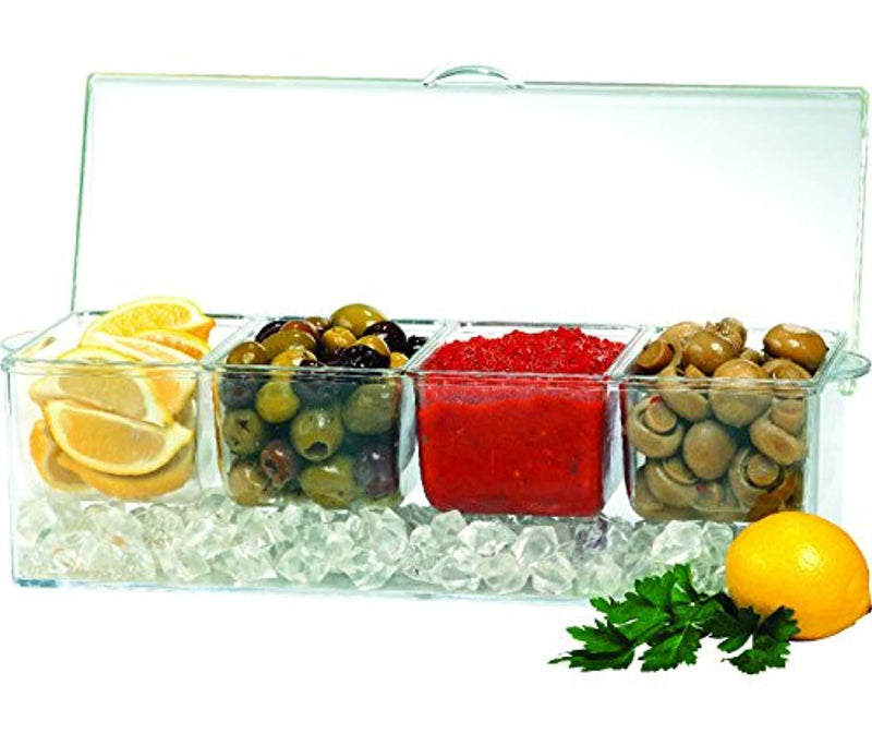 Jumbl Condiments Caddy Chilled Server Tray On Ice. 4 Big Sections Organize & Dispense Condiments With Ice Compartment Underneath. Container Made Of Shatterproof Acrylic Plastic.