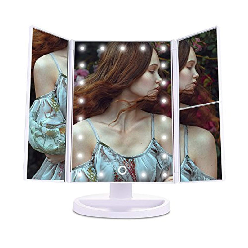 Pretty See Tri-Fold LED Lighted Makeup Mirror Touch Screen, 21 LED Lights, 1X/2X/3X Magnifying Vanity Mirrors