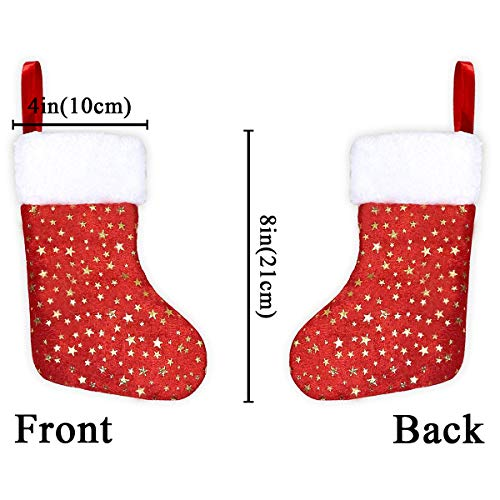 LimBridge Christmas Mini Stockings, 24 Pack 8 inches Glitter Star Print with Plush Cuff, Classic Stocking Decorations for Whole Family, Red