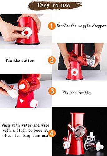 Vegetable Mandoline Chopper,Upintek 3-Blades Manual Vegetable Slicer,Efficient and Fast Vegetable Fruit Cutter Cheese Shredder, Speedy Rotary Drum Grater Slicer with Strong-Hold Suction Cup(Red)