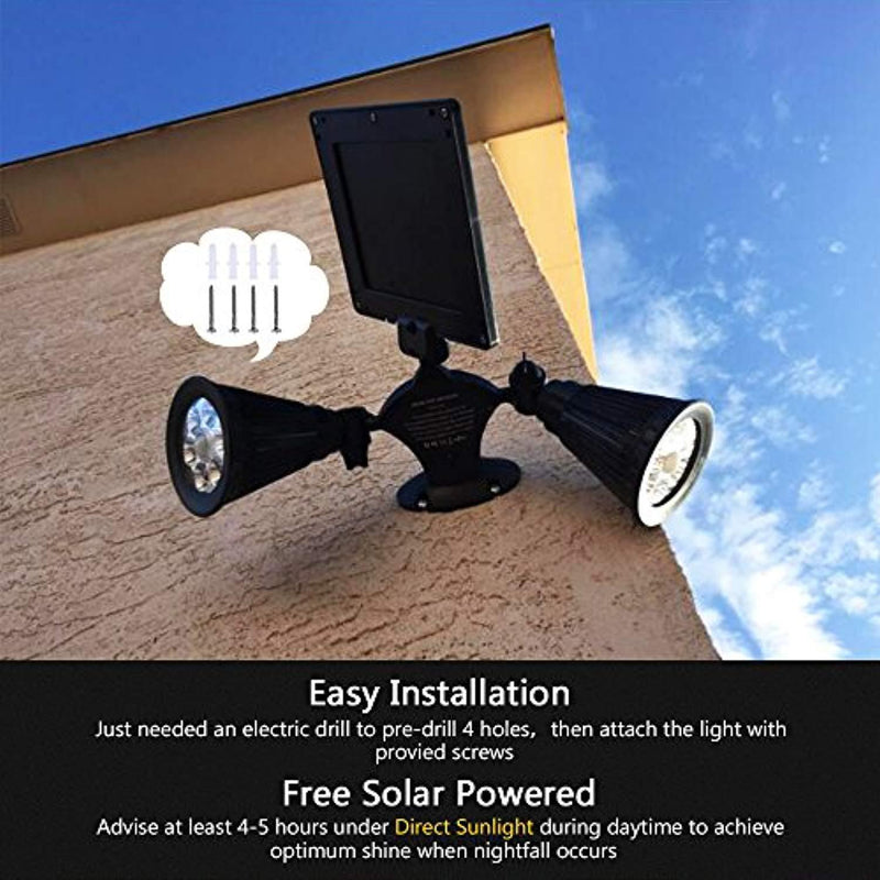 Solar Motion Sensor Light Outdoor, Vandeng Upgraded Double Spotlights 12 LED Dual head Waterproof 360-Degree Rotatable Solar Powered Security Lights for Patio Garden Porch Driveway Pathway Garage