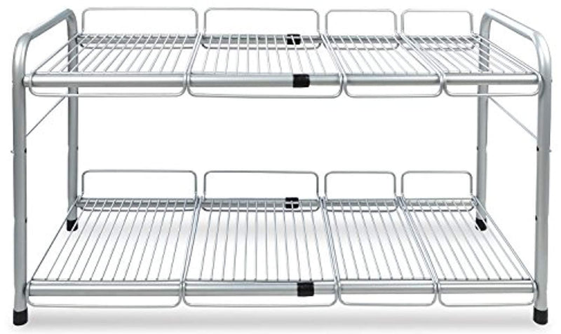 Surpahs 2 Tier Under Sink Expandable Shelf Organizer, Storage Rack (Silver)