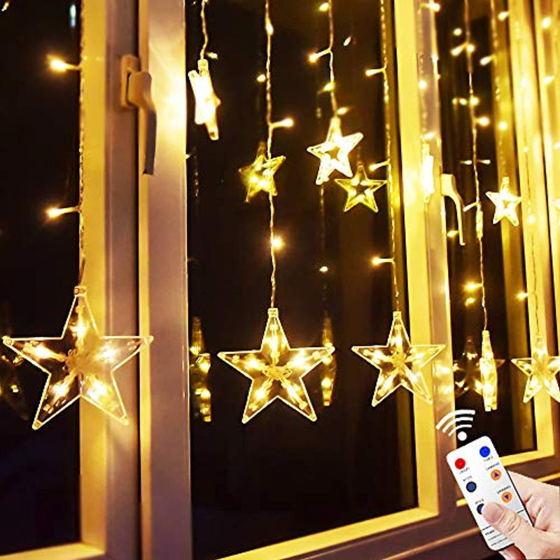 Star Curtain Lights, 8.2ft x 3.2ft 138 LED Remote Window Curtain Lights Plug In Curtain String Lights with 12 Stars 8 Flashing Modes Decoration for Wedding, bedroom,Birthday (Warm White) by MaLivent