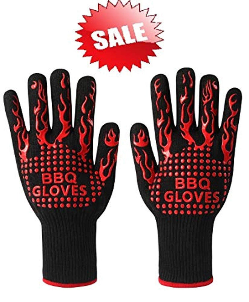 BBQ Gloves, Grill Gloves Oven Gloves 932°F Extreme Heat Resistant Gloves Heavy Duty Grill Cooking Gloves for Men, Women, Outdoor, Barbecue (Black/Red)