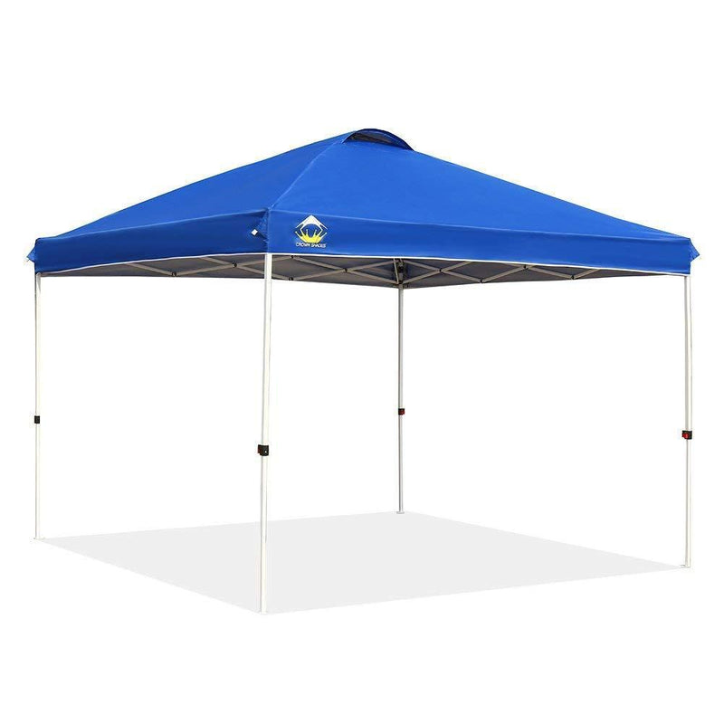 CROWN SHADES Patented 10ft x 10ft Outdoor Pop up Portable Shade Instant Folding Canopy with Carry Bag, Blue