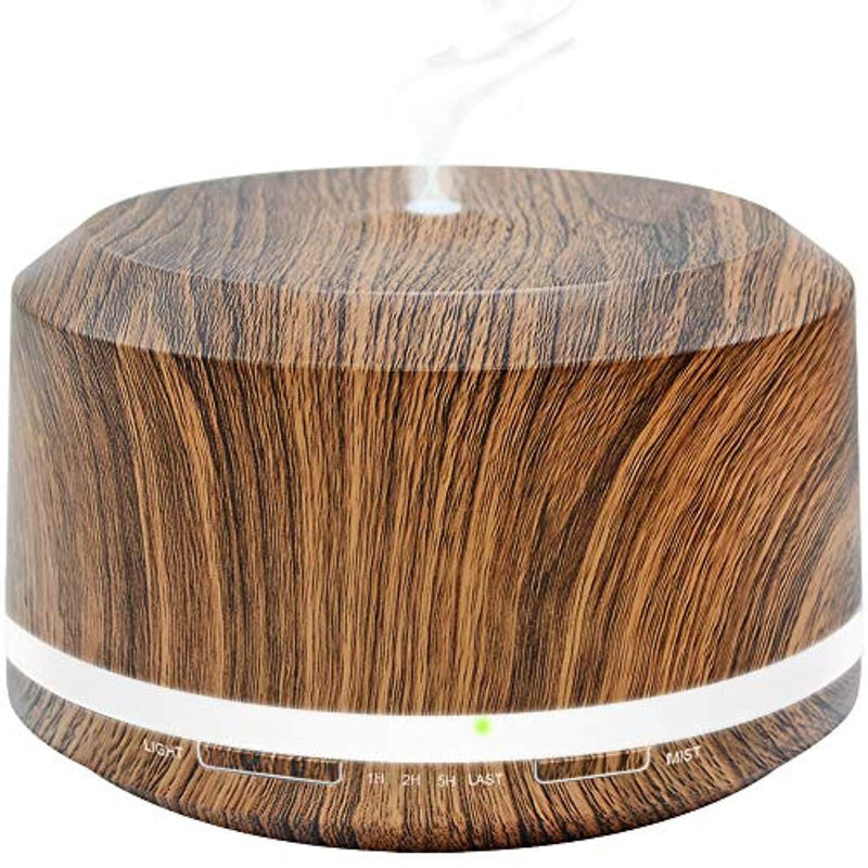 Essential Oil Diffuser 450ml, Dark Wood Grain Aromatherapy Diffusers and Air Humidifiers Set for Large Room - LUSCREAL Gift Idea
