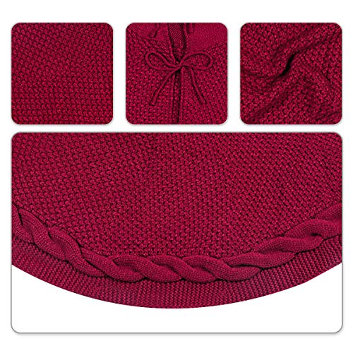 LimBridge Christmas Tree Skirt, 48 inches Cable Knit Knitted Thick Rustic Xmas Holiday Decoration, Burgundy