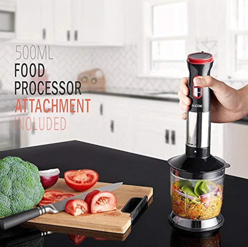Immersion Blender, Aicok 4-in-1 Hand Blender, Stick Blender with 12 Speed Control, Powerful Hand Mixer Sets Include Chopper, Whisk, BPA Free Beaker, for Soups, Smoothie, Baby Food - Stainless Steel